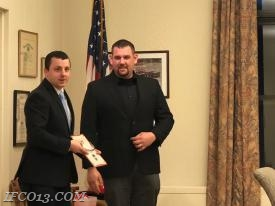 Raymond Zaccari presents 1st Lieutenant credentials to Jon Pucila  Photo Credit Mark Jackson