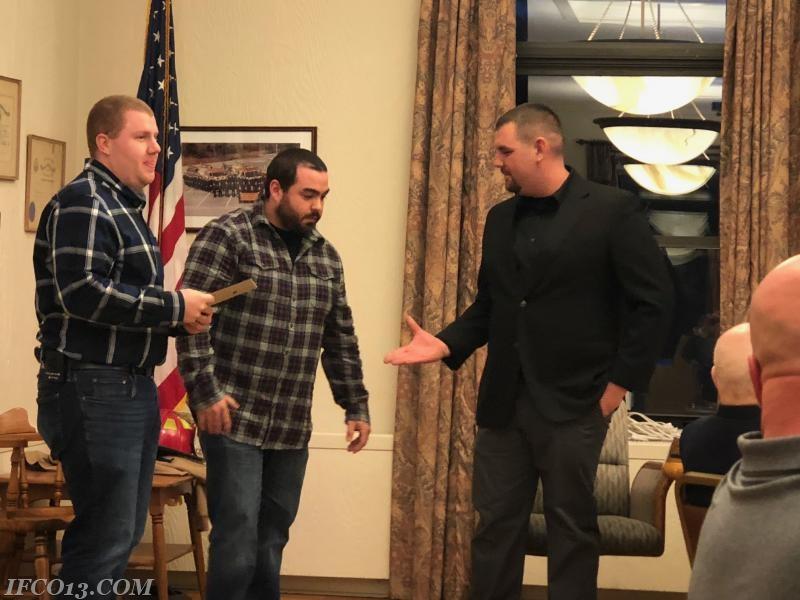 Ray Vetrano presents Engineer 105 credentials to Matt Pucila  Photo Credit Mark Jackson